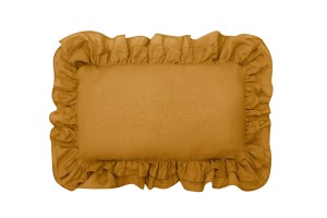 Linen pillow with two frills mustard