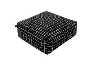 Floor Pillow Monochrome Grids Black